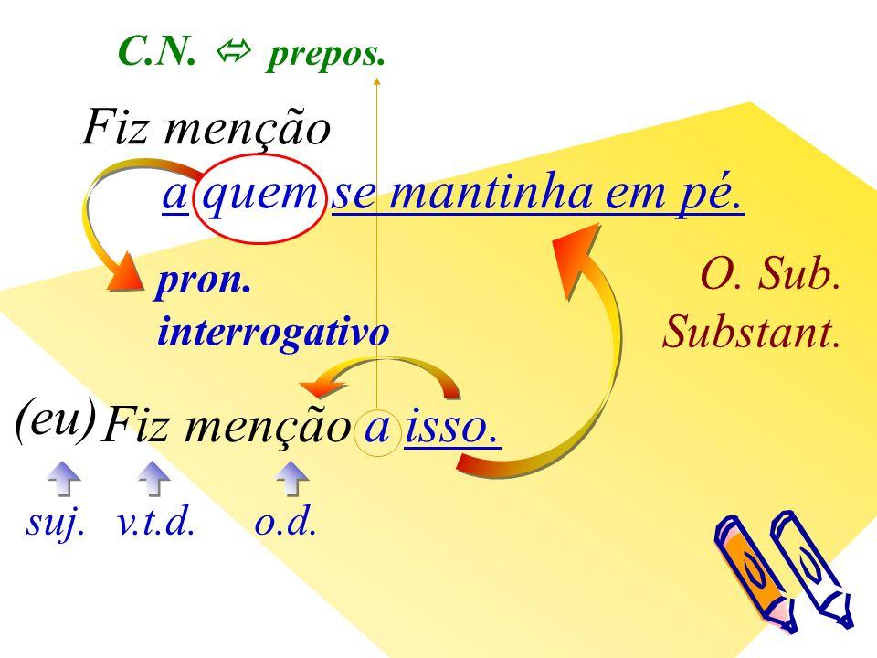 pron. interrogativo O. Sub. Substant. v.t.d. (eu) suj.o.d.