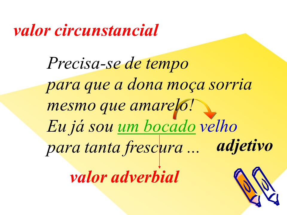 adjetivo valor adverbial valor circunstancial