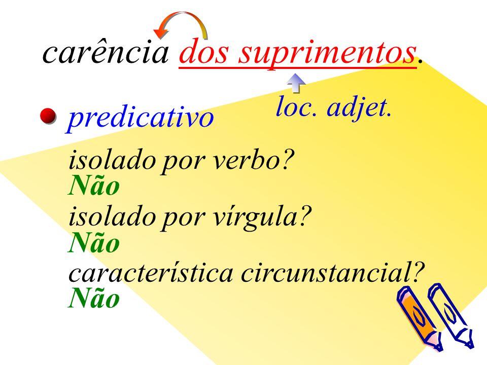 carência dos suprimentos. loc. adjet. predicativo isolado por verbo.