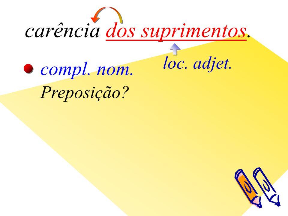 carência dos suprimentos. loc. adjet. compl. nom. Preposição