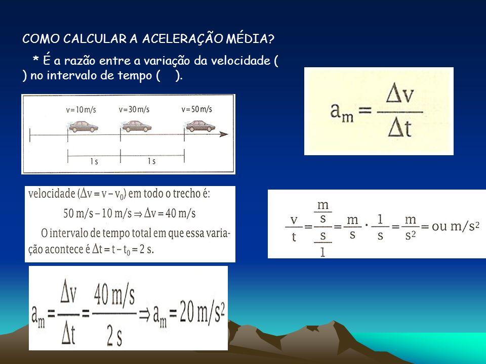 COMO CALCULAR A ACELERAÇÃO MÉDIA? * É a razão entre a variação da velocidade ( ) no intervalo de tempo ( ).