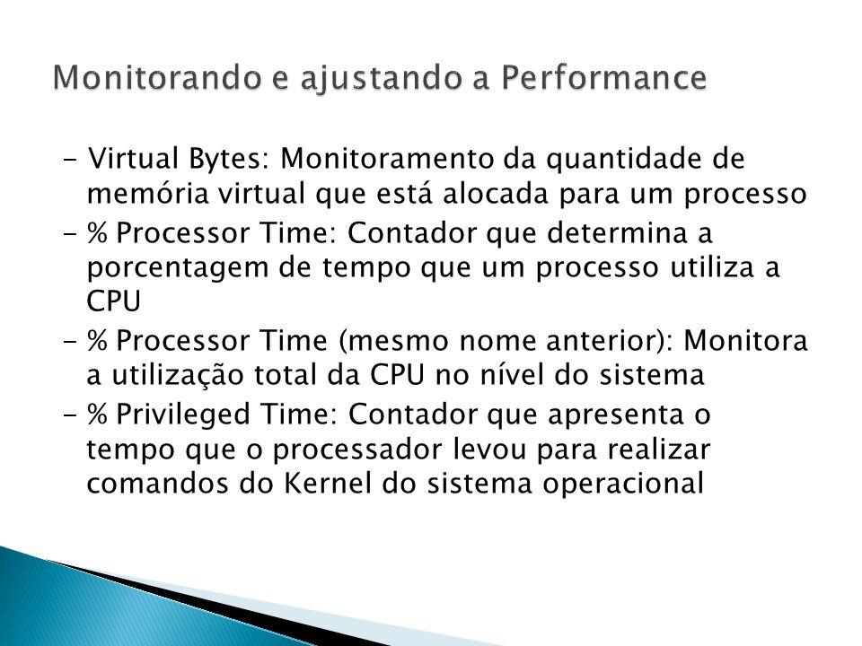 - Virtual Bytes: Monitoramento da quantidade de memória virtual que está alocada para um processo - % Processor Time: Contador que determina a porcentagem de tempo que um processo utiliza a CPU - % Processor Time (mesmo nome anterior): Monitora a utilização total da CPU no nível do sistema - % Privileged Time: Contador que apresenta o tempo que o processador levou para realizar comandos do Kernel do sistema operacional