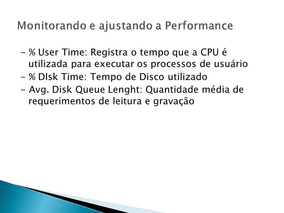 - % User Time: Registra o tempo que a CPU é utilizada para executar os processos de usuário - % DIsk Time: Tempo de Disco utilizado - Avg.