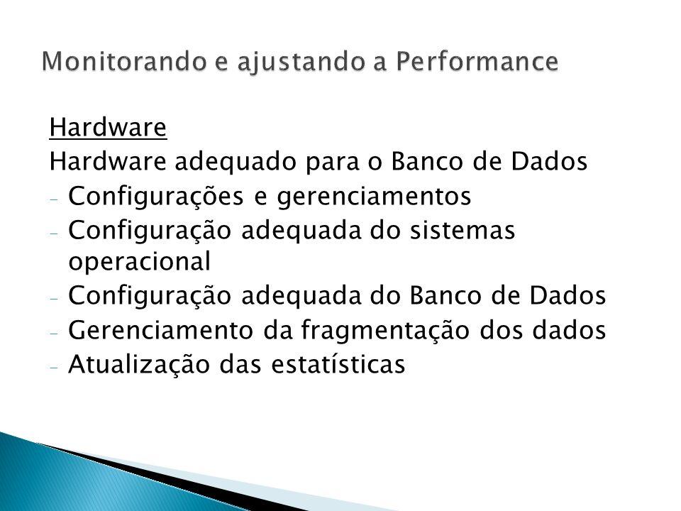 Hardware Hardware adequado para o Banco de Dados - Configurações e gerenciamentos - Configuração adequada do sistemas operacional - Configuração adequada do Banco de Dados - Gerenciamento da fragmentação dos dados - Atualização das estatísticas