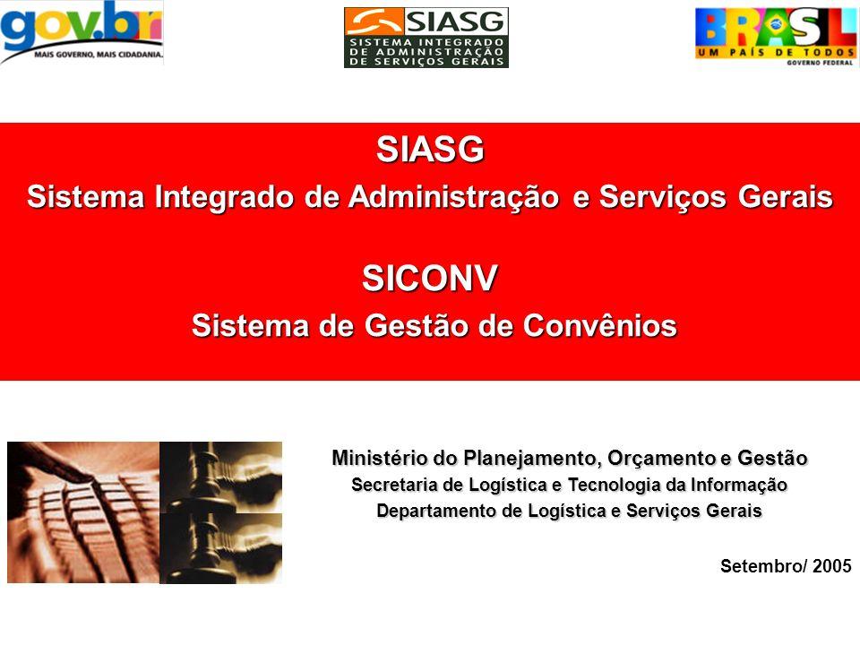 SIASG SICONV –Sistema de Gestão de Convênio Consulta Termo Aditivo Ministério do Planejamento, Orçamento e Gestão Secretaria de Logística e Tecnologia da Informação Departamento de Logística e Serviços Gerais Agosto de 2005