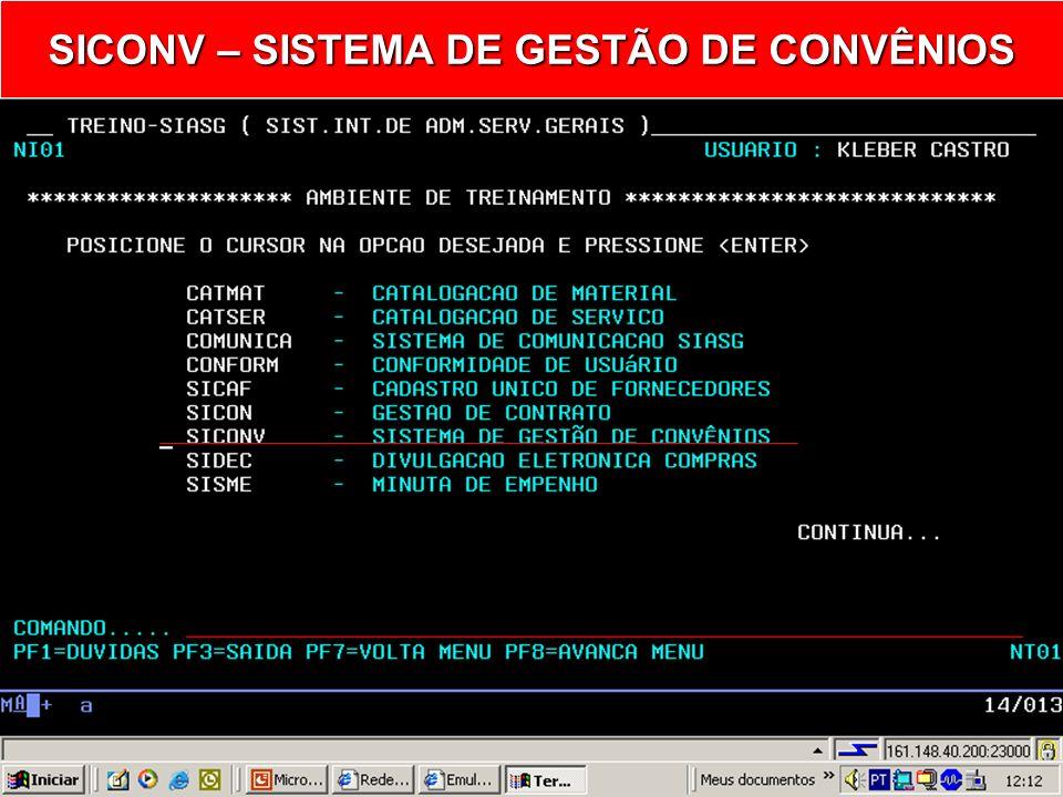 SIASG SICONV - Sistema de Gestão de Convênios Termo Aditivo ao Convênio Inclusão/Publicação Ministério do Planejamento, Orçamento e Gestão Secretaria