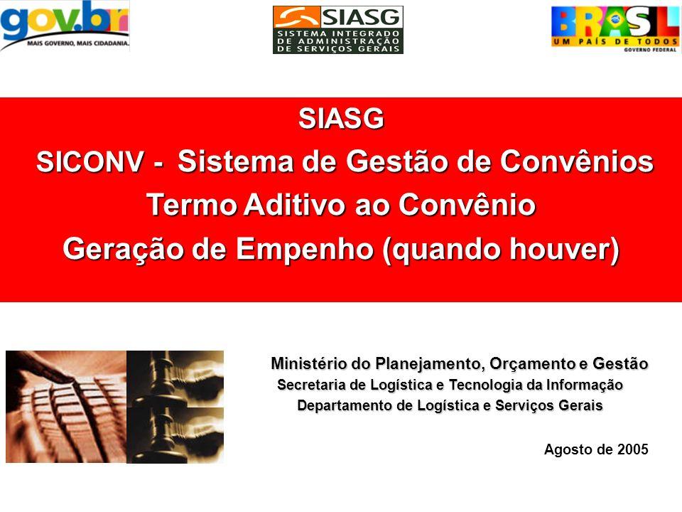 SIASG SICONV - Sistema de Gestão de Convênios Termo Aditivo ao Convênio Inclusão/Publicação Ministério do Planejamento, Orçamento e Gestão Secretaria de Logística e Tecnologia da Informação Departamento de Logística e Serviços Gerais Agosto de 2005