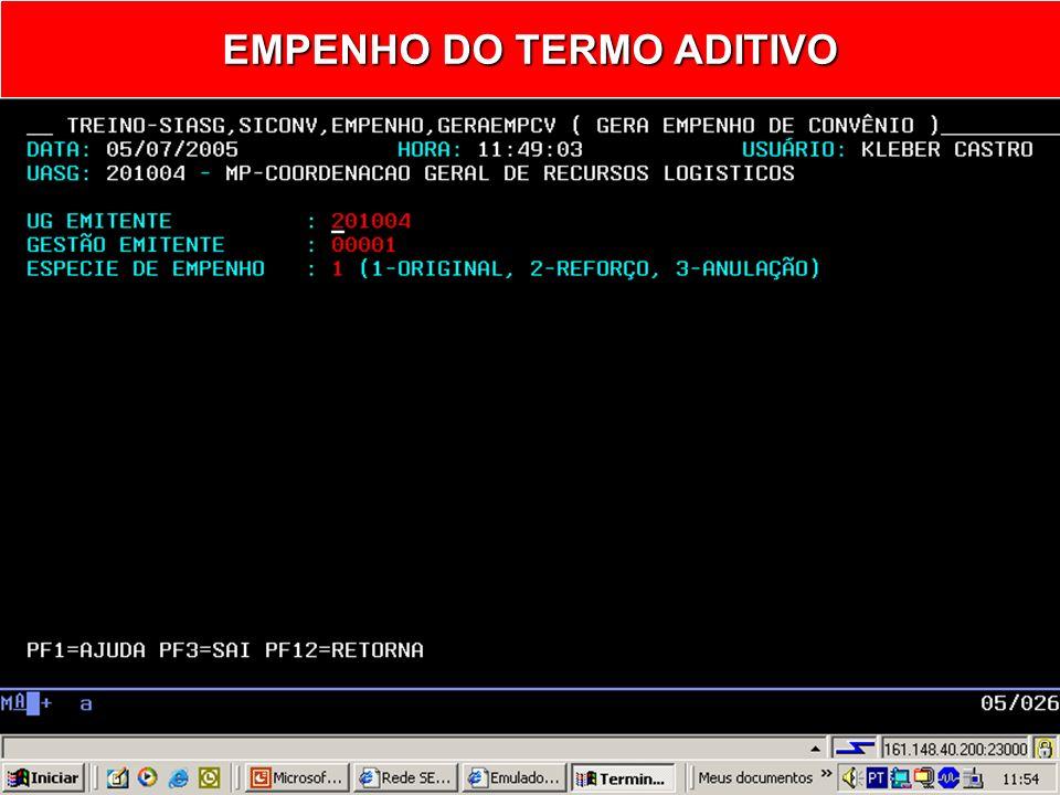 EMPENHO DO TERMO ADITIVO