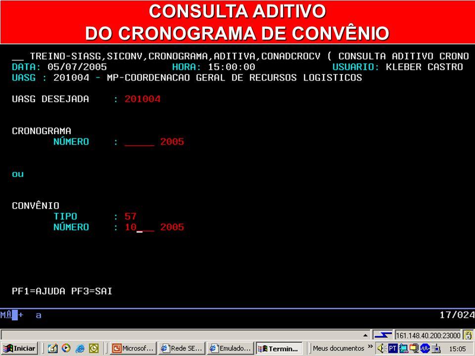 CONADCROCV – CONSULTA ADITIVO CRONOG CONV