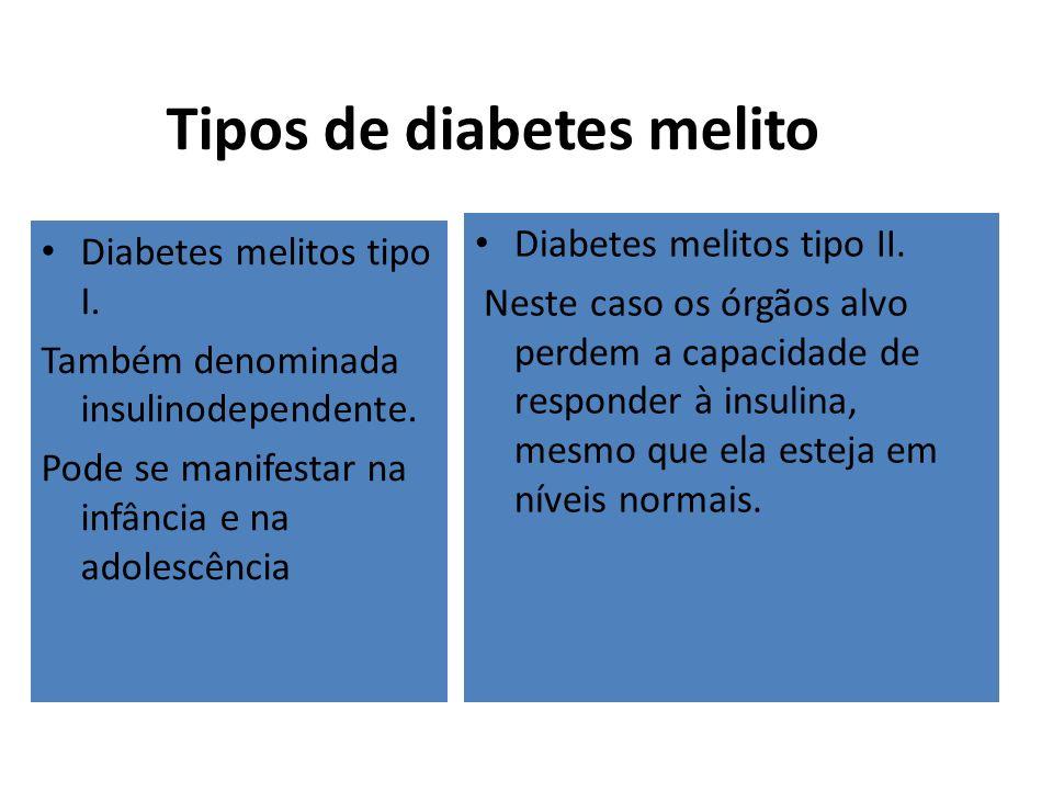 Tipos de diabetes melito Diabetes melitos tipo I. Também denominada insulinodependente. Pode se manifestar na infância e na adolescência Diabetes meli