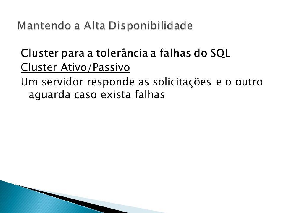 Cluster para a tolerância a falhas do SQL Cluster Ativo/Passivo Um servidor responde as solicitações e o outro aguarda caso exista falhas