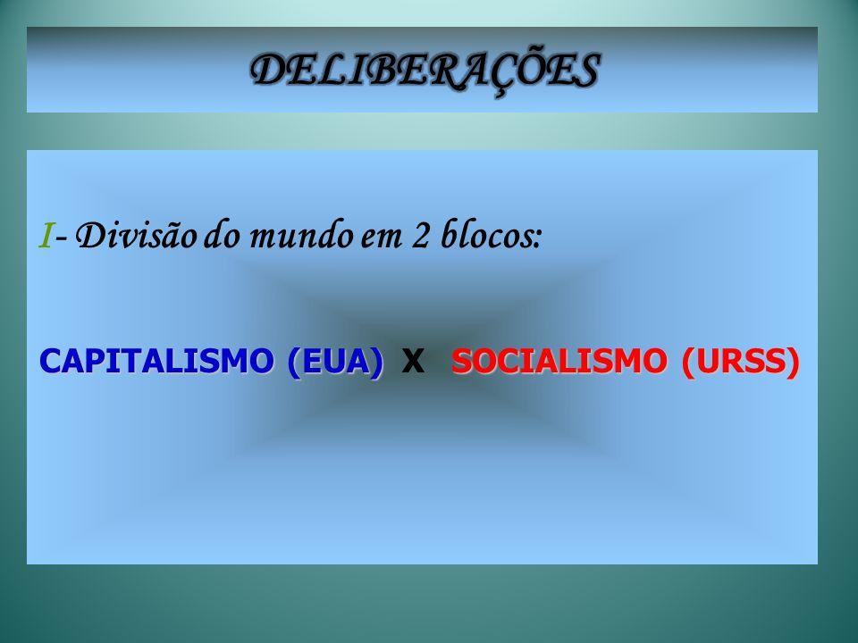 I- Divisão do mundo em 2 blocos: CAPITALISMO (EUA) SOCIALISMO (URSS) X