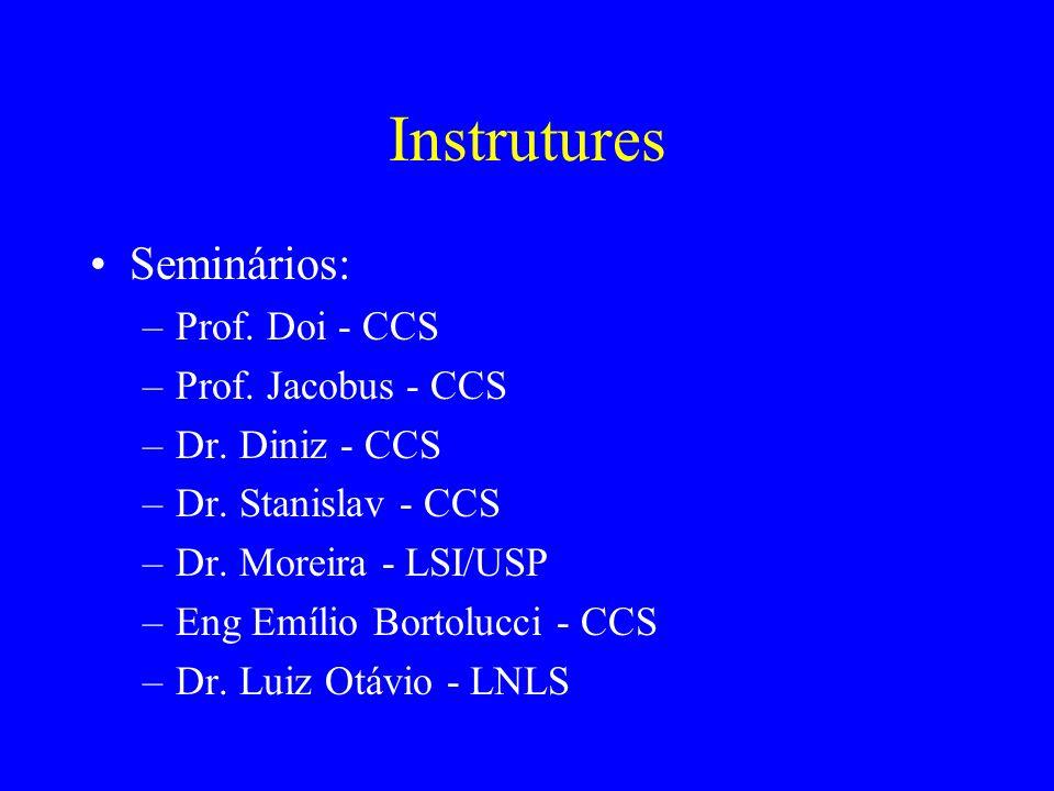 Instrutures Seminários: –Prof. Doi - CCS –Prof. Jacobus - CCS –Dr. Diniz - CCS –Dr. Stanislav - CCS –Dr. Moreira - LSI/USP –Eng Emílio Bortolucci - CC