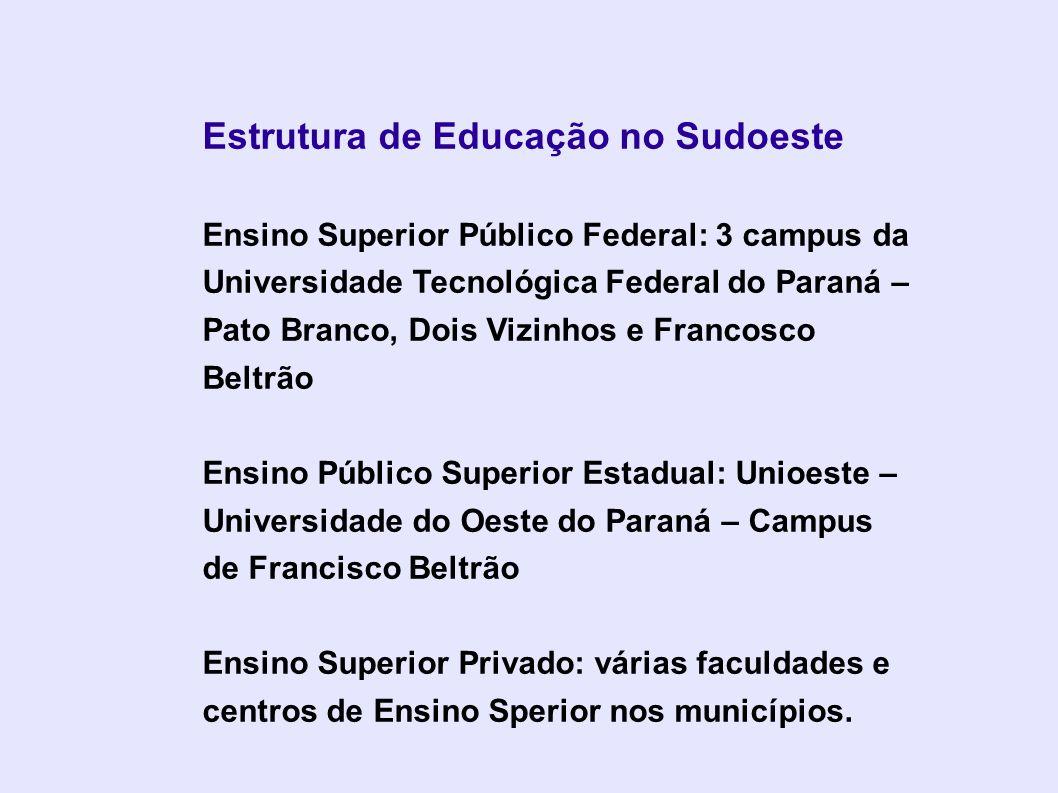 Estrutura de Educação no Sudoeste Ensino Superior Público Federal: 3 campus da Universidade Tecnológica Federal do Paraná – Pato Branco, Dois Vizinhos