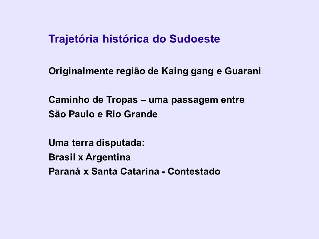 Trajetória histórica do Sudoeste Originalmente região de Kaing gang e Guarani Caminho de Tropas – uma passagem entre São Paulo e Rio Grande Uma terra