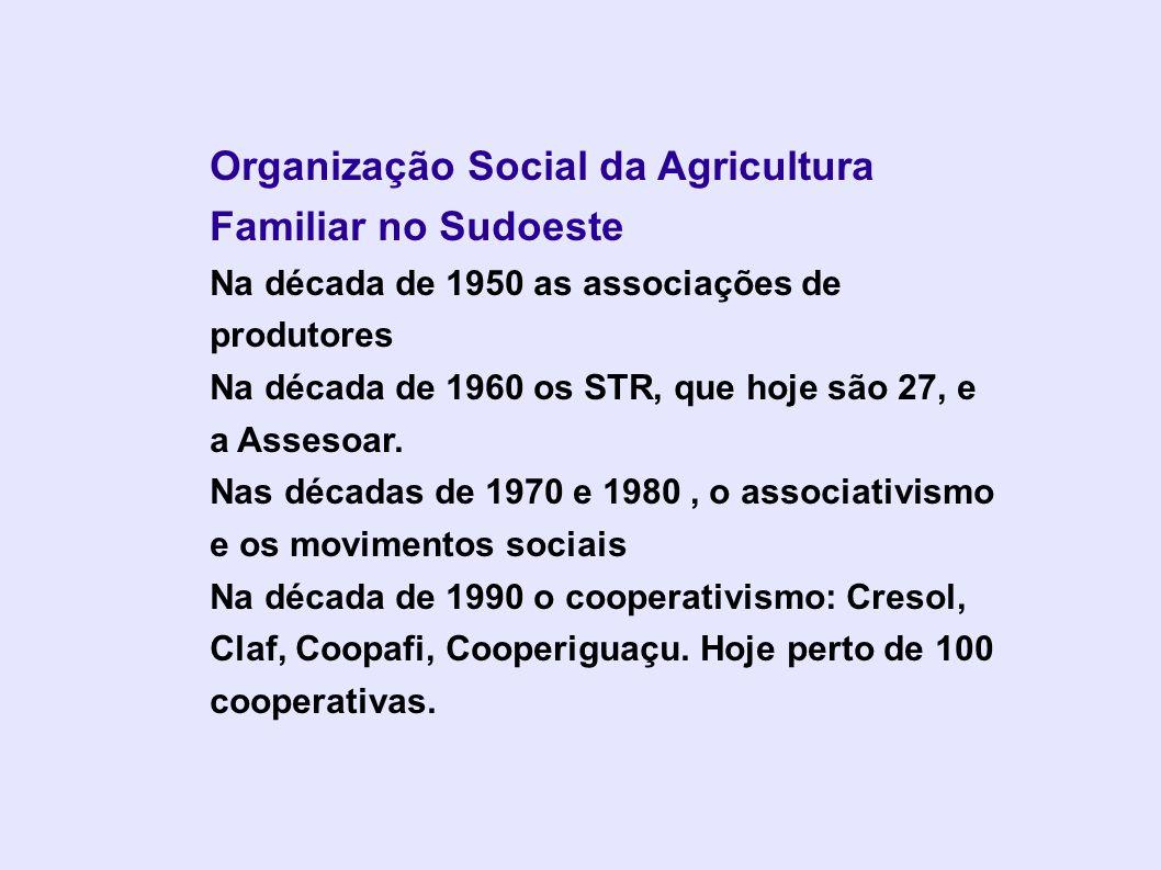 Organização Social da Agricultura Familiar no Sudoeste Na década de 1950 as associações de produtores Na década de 1960 os STR, que hoje são 27, e a A