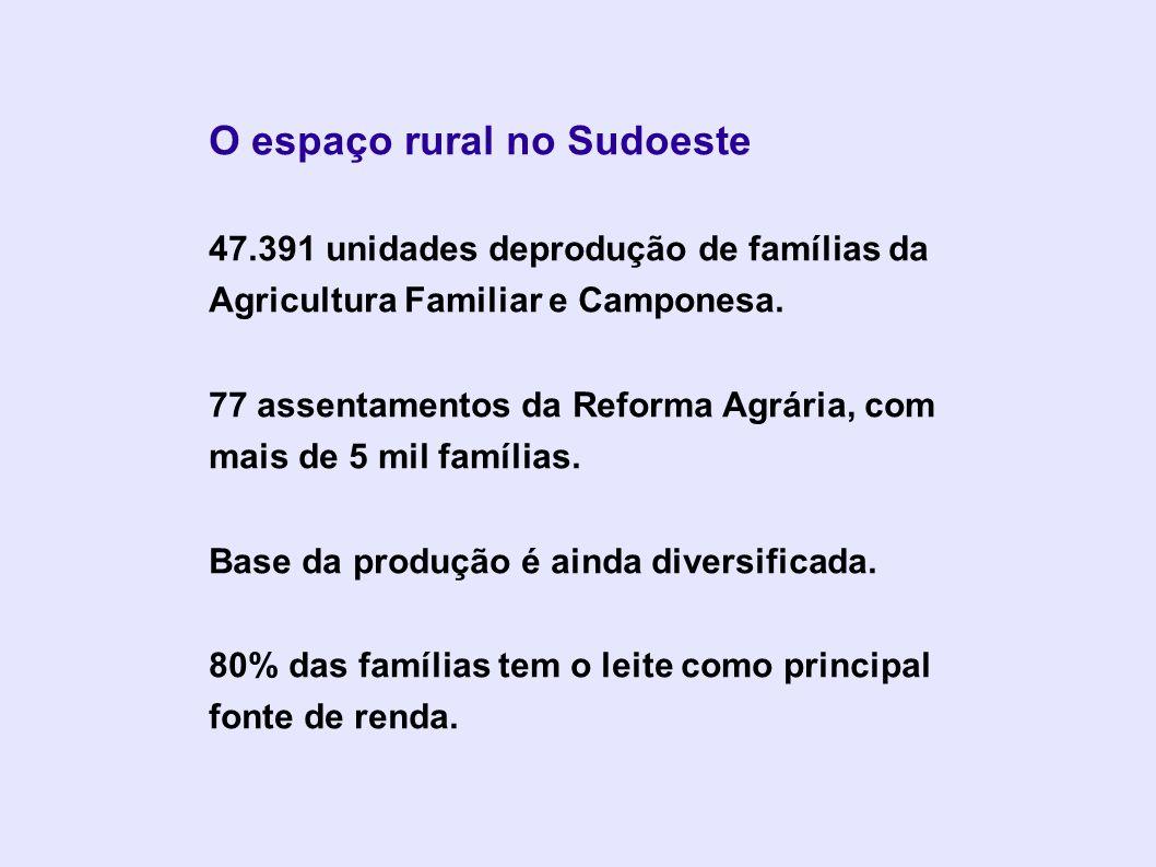 O espaço rural no Sudoeste 47.391 unidades deprodução de famílias da Agricultura Familiar e Camponesa. 77 assentamentos da Reforma Agrária, com mais d