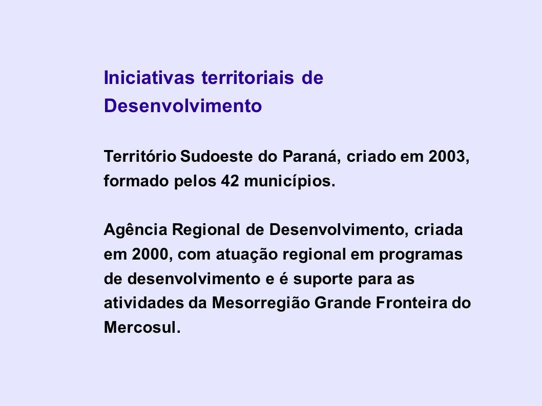 Iniciativas territoriais de Desenvolvimento Território Sudoeste do Paraná, criado em 2003, formado pelos 42 municípios. Agência Regional de Desenvolvi