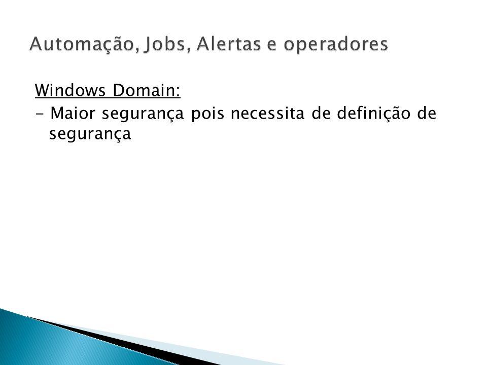 JOBS de replicação - A replicação é executada no servidor por meio de agentes implementados no SQL