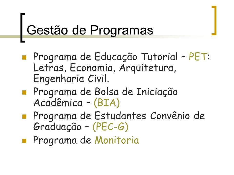 Programa de Educação Tutorial – PET: Letras, Economia, Arquitetura, Engenharia Civil. Programa de Bolsa de Iniciação Acadêmica – (BIA) Programa de Est