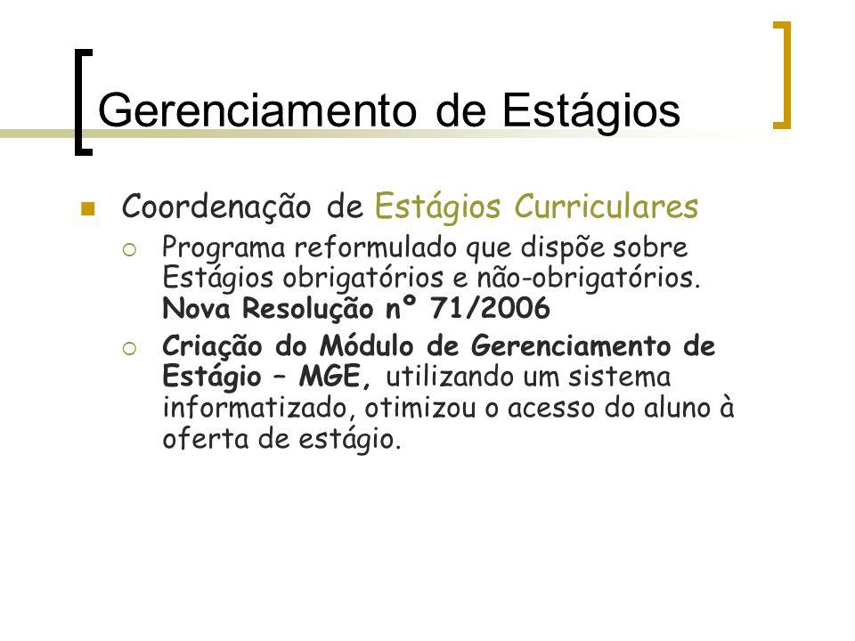 Coordenação de Estágios Curriculares Programa reformulado que dispõe sobre Estágios obrigatórios e não-obrigatórios. Nova Resolução nº 71/2006 Criação