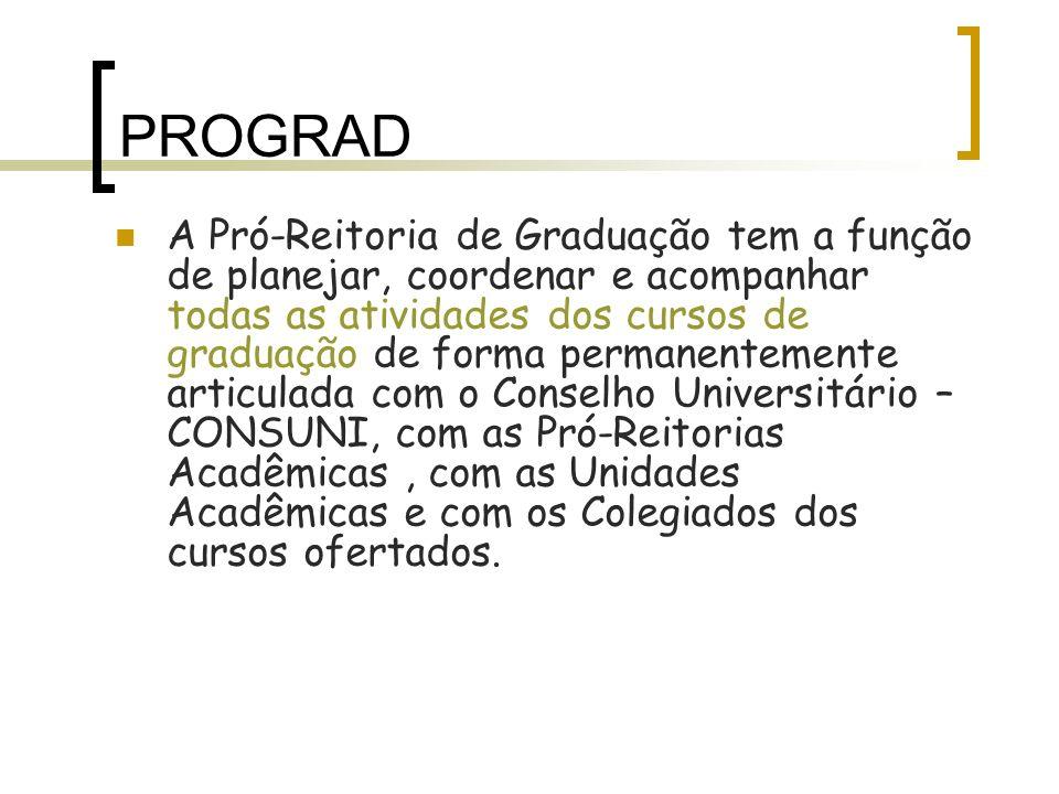 A Pró-Reitoria de Graduação tem a função de planejar, coordenar e acompanhar todas as atividades dos cursos de graduação de forma permanentemente arti