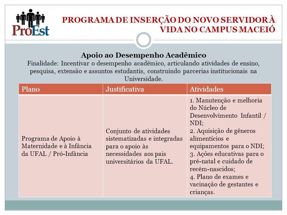 PROGRAMA DE INSERÇÃO DO NOVO SERVIDOR À VIDA NO CAMPUS MACEIÓ Apoio ao Desempenho Acadêmico Finalidade: Incentivar o desempenho acadêmico, articulando