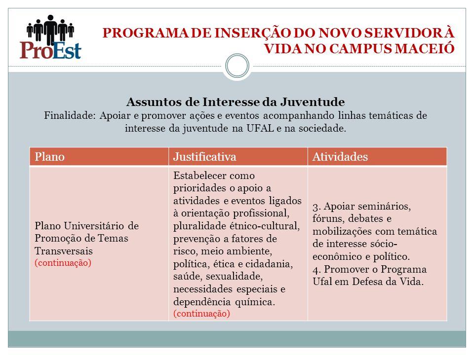 PROGRAMA DE INSERÇÃO DO NOVO SERVIDOR À VIDA NO CAMPUS MACEIÓ PlanoJustificativaAtividades Plano Universitário de Promoção de Temas Transversais (cont