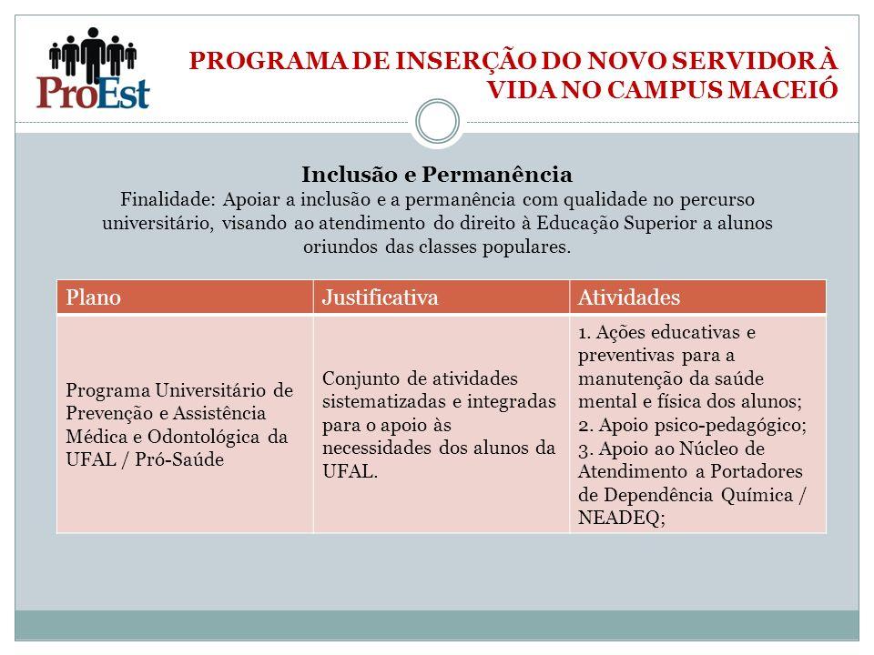 PROGRAMA DE INSERÇÃO DO NOVO SERVIDOR À VIDA NO CAMPUS MACEIÓ Inclusão e Permanência Finalidade: Apoiar a inclusão e a permanência com qualidade no pe
