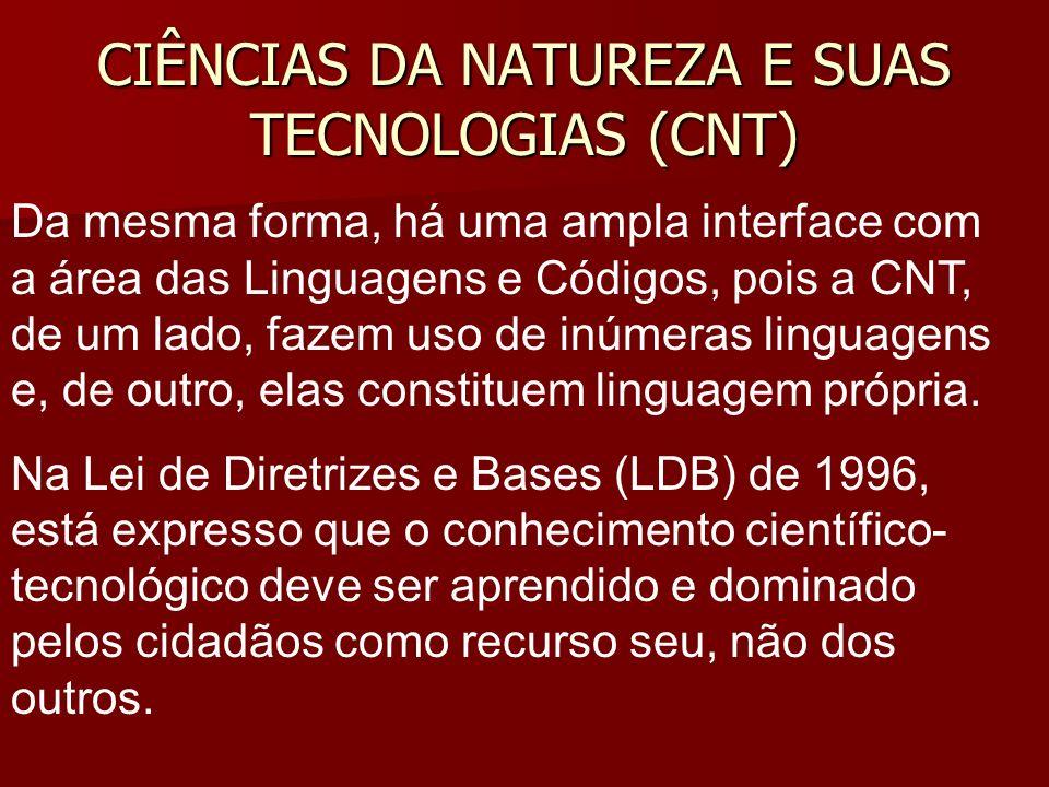 CIÊNCIAS DA NATUREZA E SUAS TECNOLOGIAS (CNT) Da mesma forma, há uma ampla interface com a área das Linguagens e Códigos, pois a CNT, de um lado, fazem uso de inúmeras linguagens e, de outro, elas constituem linguagem própria.