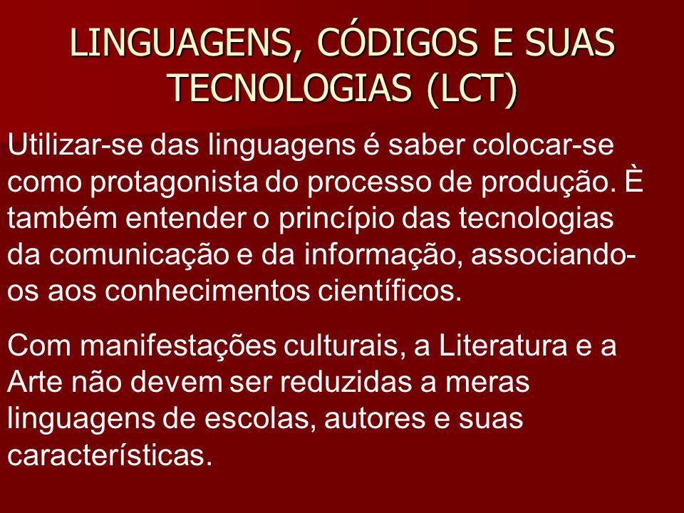 LINGUAGENS, CÓDIGOS E SUAS TECNOLOGIAS (LCT) Utilizar-se das linguagens é saber colocar-se como protagonista do processo de produção. È também entende