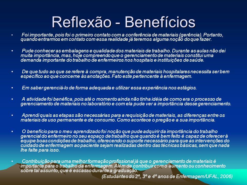 Reflexão - Benefícios Foi importante, pois foi o primeiro contato com a conferência de materiais (gerência). Portanto, quando entrarmos em contato com