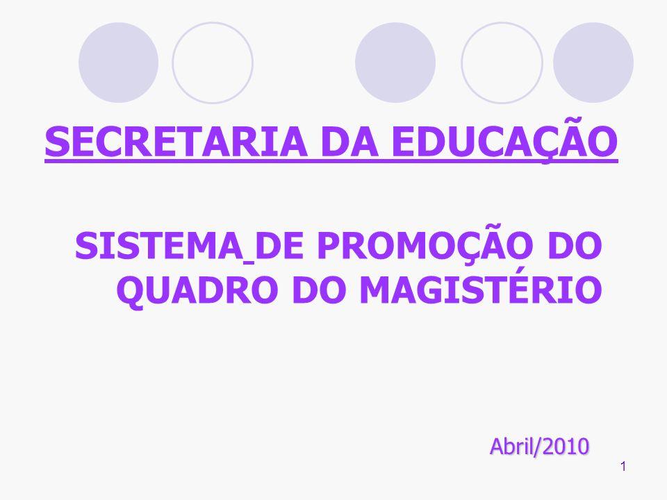 1 SECRETARIA DA EDUCAÇÃO SISTEMA DE PROMOÇÃO DO QUADRO DO MAGISTÉRIO Abril/2010