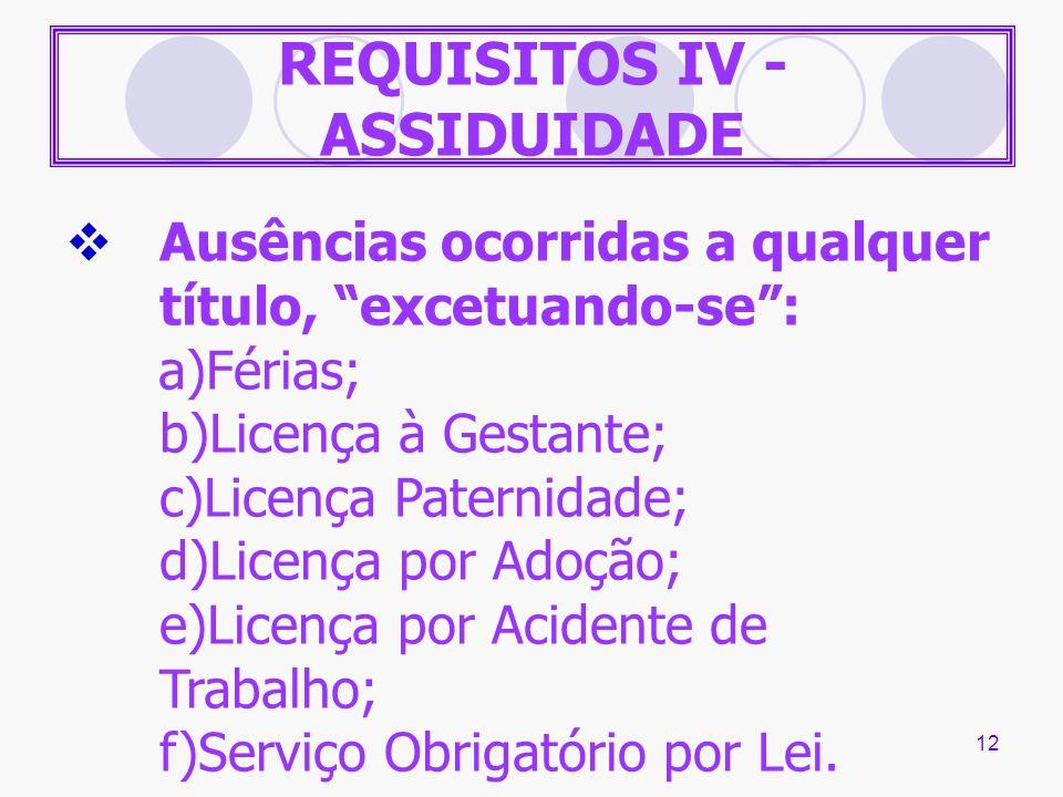 12 REQUISITOS IV - ASSIDUIDADE Ausências ocorridas a qualquer título, excetuando-se: a)Férias; b)Licença à Gestante; c)Licença Paternidade; d)Licença
