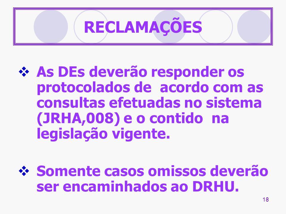 18 RECLAMAÇÕES As DEs deverão responder os protocolados de acordo com as consultas efetuadas no sistema (JRHA,008) e o contido na legislação vigente.
