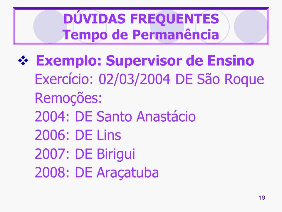 19 DÚVIDAS FREQUENTES Tempo de Permanência Exemplo: Supervisor de Ensino Exercício: 02/03/2004 DE São Roque Remoções: 2004: DE Santo Anastácio 2006: D