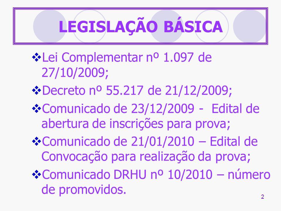 2 LEGISLAÇÃO BÁSICA Lei Complementar nº 1.097 de 27/10/2009; Decreto nº 55.217 de 21/12/2009; Comunicado de 23/12/2009 - Edital de abertura de inscriç