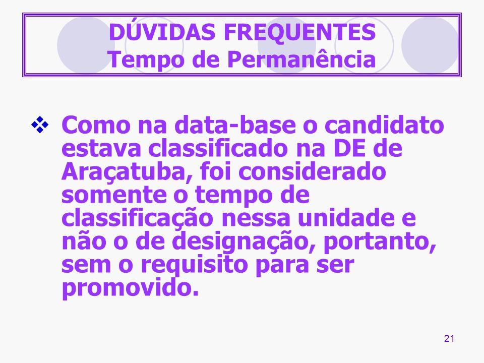 21 DÚVIDAS FREQUENTES Tempo de Permanência Como na data-base o candidato estava classificado na DE de Araçatuba, foi considerado somente o tempo de cl