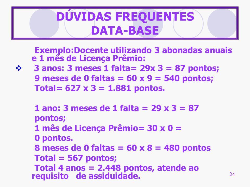 24 DÚVIDAS FREQUENTES DATA-BASE Exemplo:Docente utilizando 3 abonadas anuais e 1 mês de Licença Prêmio: 3 anos: 3 meses 1 falta= 29x 3 = 87 pontos; 9