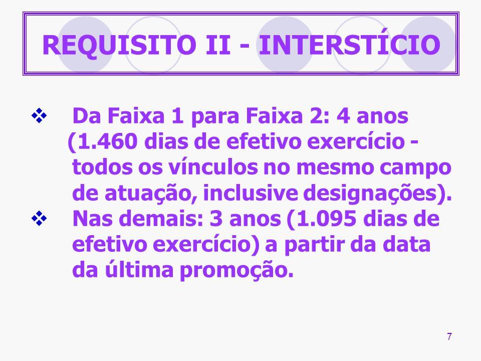 7 REQUISITO II - INTERSTÍCIO Da Faixa 1 para Faixa 2: 4 anos (1.460 dias de efetivo exercício - todos os vínculos no mesmo campo de atuação, inclusive