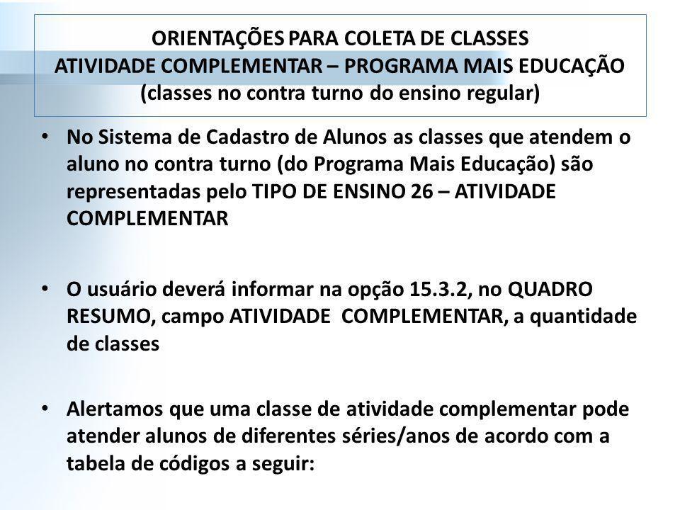 ORIENTAÇÕES PARA COLETA DE CLASSES ATIVIDADE COMPLEMENTAR – PROGRAMA MAIS EDUCAÇÃO (classes no contra turno do ensino regular) No Sistema de Cadastro