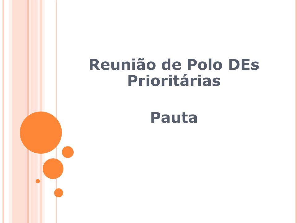 Reunião de Polo DEs Prioritárias Pauta