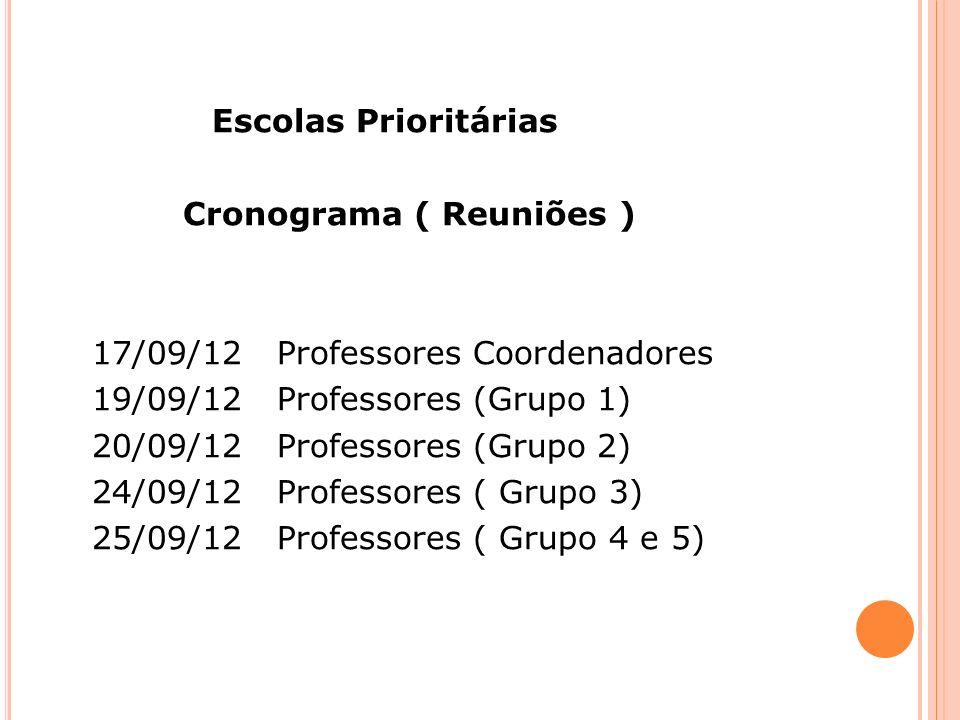 Escolas Prioritárias Cronograma ( Reuniões ) 17/09/12 Professores Coordenadores 19/09/12 Professores (Grupo 1) 20/09/12 Professores (Grupo 2) 24/09/12