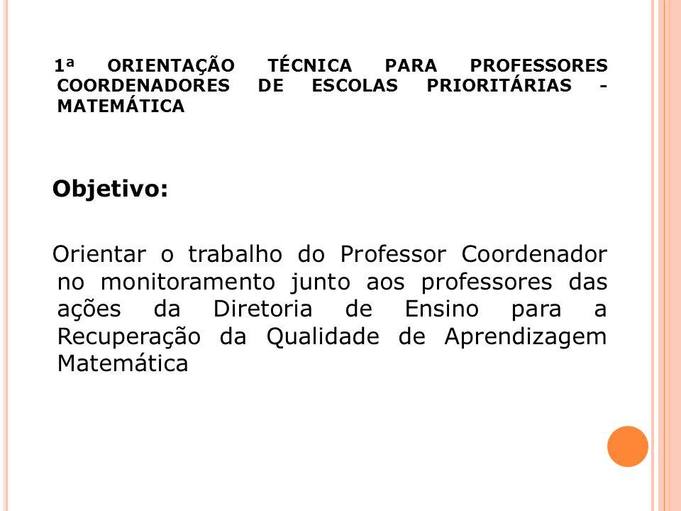 1ª ORIENTAÇÃO TÉCNICA PARA PROFESSORES COORDENADORES DE ESCOLAS PRIORITÁRIAS - MATEMÁTICA Objetivo: Orientar o trabalho do Professor Coordenador no mo