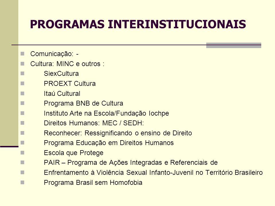 Comunicação: - Cultura: MINC e outros : SiexCultura PROEXT Cultura Itaú Cultural Programa BNB de Cultura Instituto Arte na Escola/Fundação Iochpe Dire