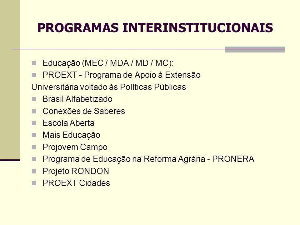 Educação (MEC / MDA / MD / MC): PROEXT - Programa de Apoio à Extensão Universitária voltado às Políticas Públicas Brasil Alfabetizado Conexões de Sabe