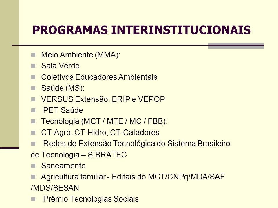 Meio Ambiente (MMA): Sala Verde Coletivos Educadores Ambientais Saúde (MS): VERSUS Extensão: ERIP e VEPOP PET Saúde Tecnologia (MCT / MTE / MC / FBB):