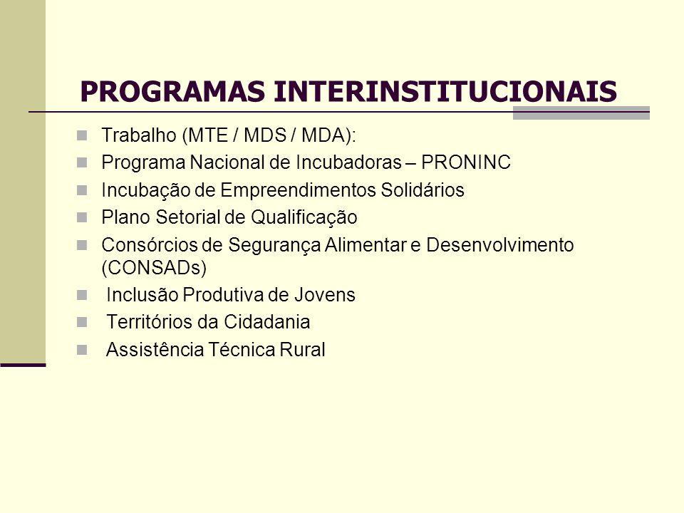 Trabalho (MTE / MDS / MDA): Programa Nacional de Incubadoras – PRONINC Incubação de Empreendimentos Solidários Plano Setorial de Qualificação Consórci