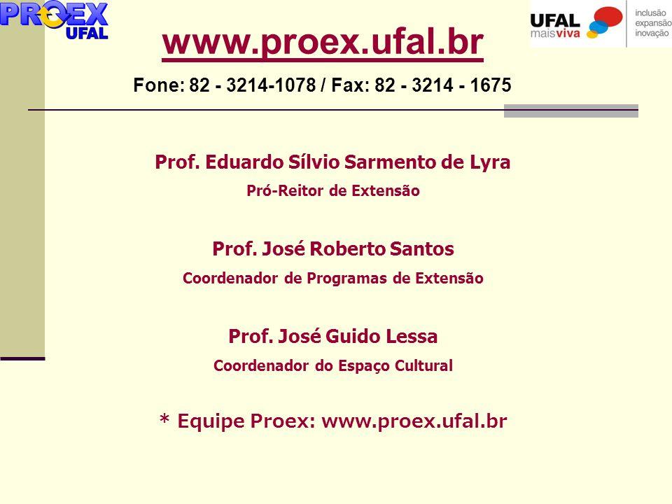 Prof. Eduardo Sílvio Sarmento de Lyra Pró-Reitor de Extensão Prof. José Roberto Santos Coordenador de Programas de Extensão Prof. José Guido Lessa Coo