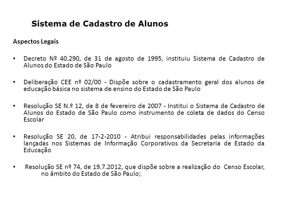 Sistema de Cadastro de Alunos Aspectos Legais Decreto Nº 40.290, de 31 de agosto de 1995, instituiu Sistema de Cadastro de Alunos do Estado de São Paulo Deliberação CEE nº 02/00 - Dispõe sobre o cadastramento geral dos alunos de educação básica no sistema de ensino do Estado de São Paulo Resolução SE N.º 12, de 8 de fevereiro de 2007 - Institui o Sistema de Cadastro de Alunos do Estado de São Paulo como instrumento de coleta de dados do Censo Escolar Resolução SE 20, de 17-2-2010 - Atribui responsabilidades pelas informações lançadas nos Sistemas de Informação Corporativos da Secretaria de Estado da Educação Resolução SE nº 74, de 19.7.2012, que dispõe sobre a realização do Censo Escolar, no âmbito do Estado de São Paulo;